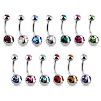 Twin Gem Bottom Navel Ring Belly Bar